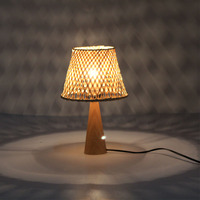 handmade bamboo lampshade wooden base small bedside led indoor decorative hotel Modern table lamp desk night light
