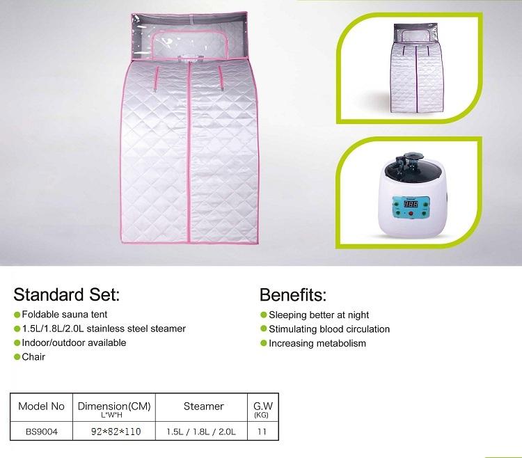 Penggunaan Dalam Ruangan Tenda Sauna Uap Rumah Pribadi Portabel untuk 1 Orang Sauna Santai Uap