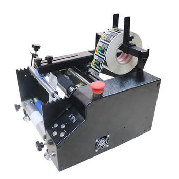 Semi Automatic Round Bottle Labeling Machine, Manual Vial Bottle Label Applicator for Plastic