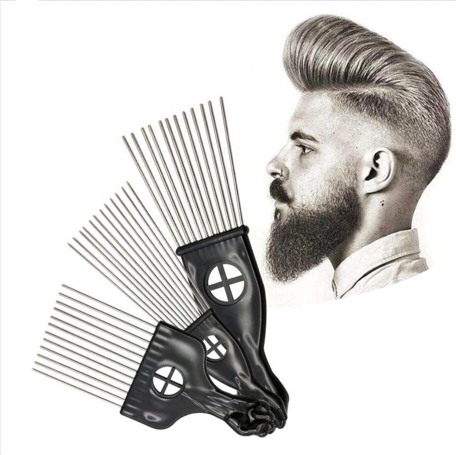 Salon Styling <strong>Comb</strong> Afro Hairdressing Metal Pins <strong>Hair</strong> Pick With Fist Plastic Handle Buy Barber Metal <strong>Hair</strong> Styling Pik Afro Pick