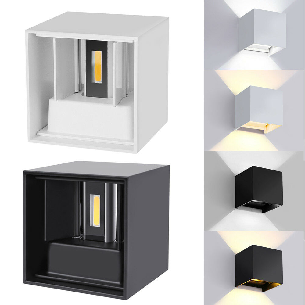 Modern LED Wall Light Waterproof Exterior Up Down Cube Sconce Lamp Fixture 2*3w