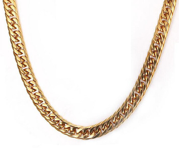 New Male Stainless Steel 18k Solid Gold Heavy Duty Chain Men