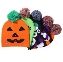 Latest wholesale high quality halloween lighted knit cap ghost children's adult hat party supplies