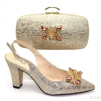 Light golden office ladies slingback shoes african bag and shoe set for party