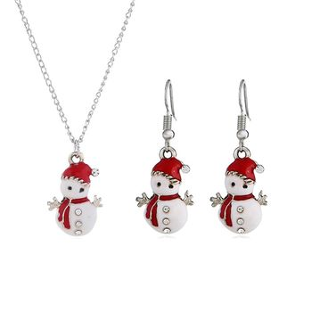 Cute Cartoon Enamel White Red Christmas Gift Earrings Necklace Set Snowman Pendant Jewelry
