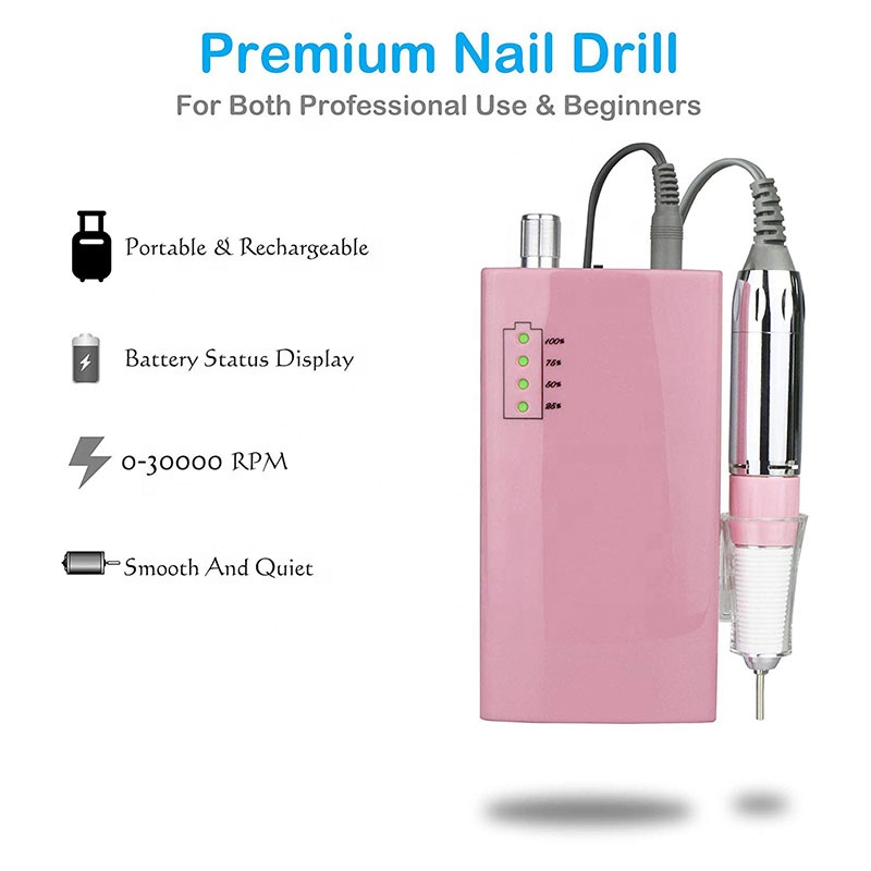 Order 25pcs customize private logo Wireless 30000rpm Nail drill made in japan rechargeable electric kupa nail drill