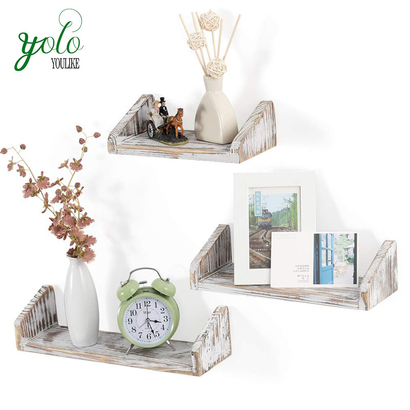 Wholesale High Quality Set of 3 Rustic Wood White Decoration  Wall Mounted Floating Shelf