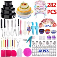Amazon Most Popular Factory 282 Piece Decor Tool Turntable Piping Decoration Wilton Cake Decorating Kit Supply Frosting Tip
