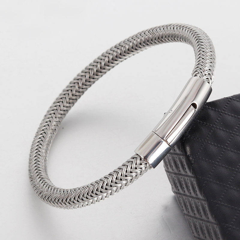 Venda quente Logotipo Personalizado Personalizar Aço Inoxidável Cuff Pulseiras de Couro Fecho Magnético Para Homens