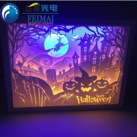 3D Halloween HIPS battery operated led paper carving cinema light box