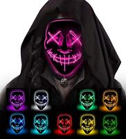 Hot sale Halloween sound Mask Cosplay LED Glow Scary neon party mask EL Wire Masks Light Up for Festival Parties Costume