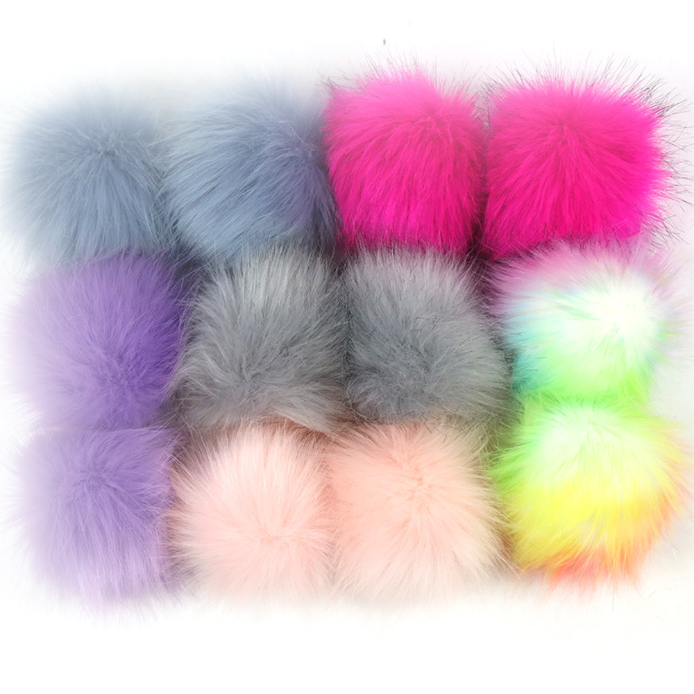 10cm faux <strong>fox</strong> <strong>fur</strong> pom <strong>balls</strong> With elastic bands soild color fluffy <strong>fur</strong> pom poms for beanie DIY plush <strong>fur</strong> pompom accessories