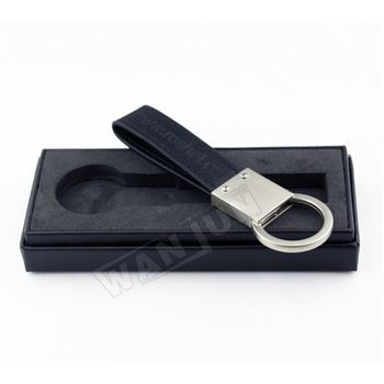 Manufacturing Professional Custom Wholesale Cheap Black Leather Keychain