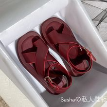 Знаменитые сандалии в виде маффинов; Новинка; Женские летние сандалии-гладиаторы на толстой широкой подошве tao zhi(Китай)