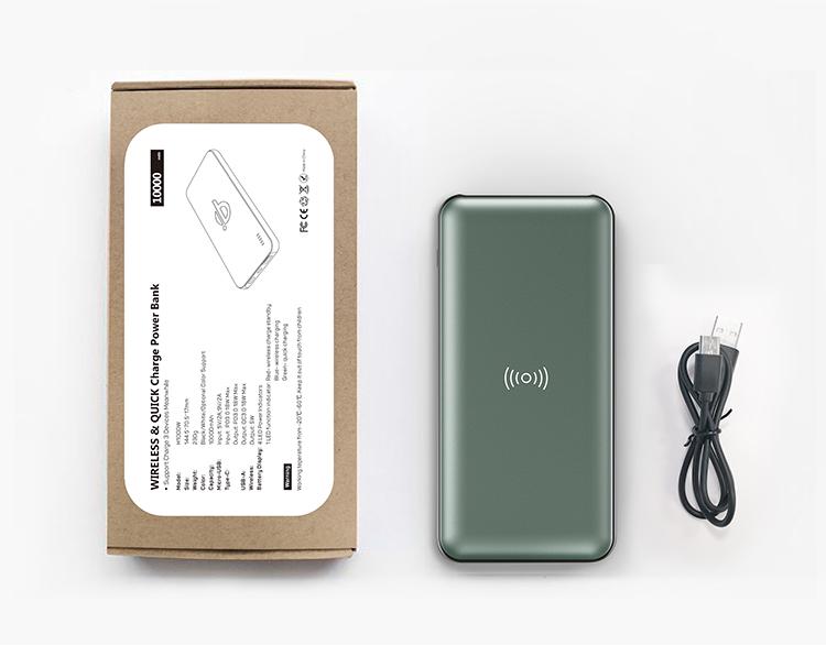 Portable 10000mAh Power Bank Output Custom QI Fast Charging Wireless Power bank