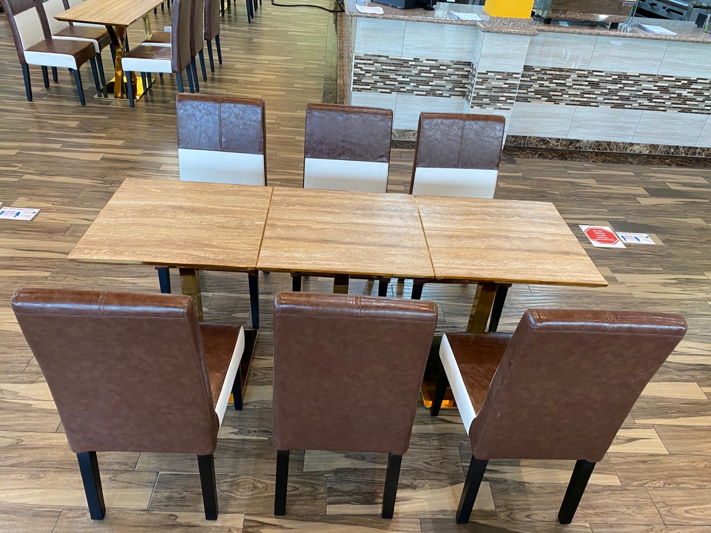 Customize wooden restaurant booth seating sofa bench with table sets