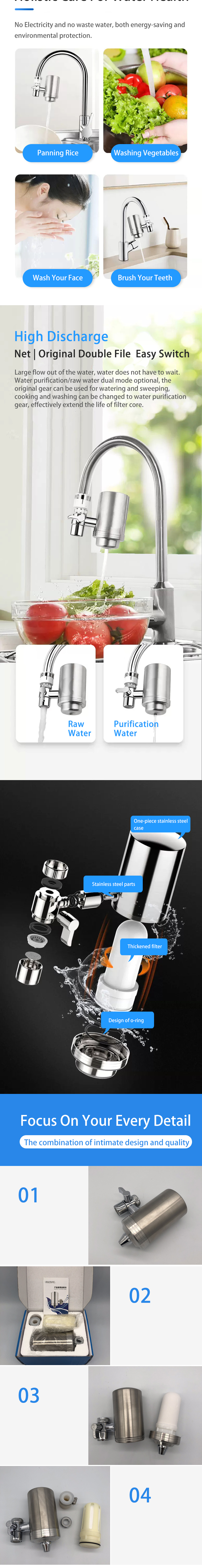 Filter Water Tap With Ceramic Filter Cartridge, Faucet Water Filter For Household Kitchen Faucet Water Purifier