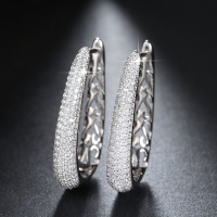 RINNTIN OE139 Diamond Stone Earring With Genuine Siver Hoop Earrings