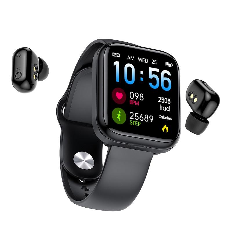 Newest Arrival 2 in 1 Wireless Smart Watch with Earbuds Headset Smart Bracelet TWS Earphones Smartwatch Earbuds