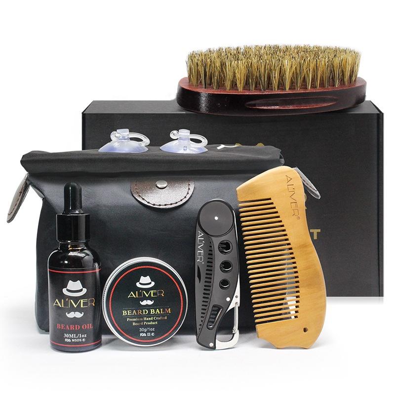 ALIVER 7 in 1 Men's Care Gift Beard Shaping Tool With Beard Oil Balm Brush Dual Combs Bib Travel Bag Beard Grooming Kit