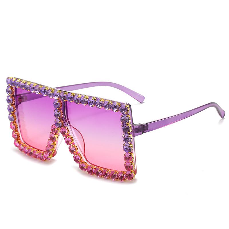 57055 Oversized Wholesale Shades Luxury Fashion Designer 2021 Authentic Women Big Diamond Rhinestones Sun Glasses Sunglasses, Picture colors