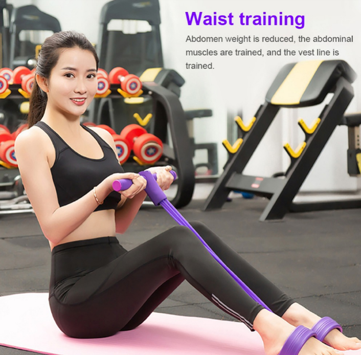 Dropshipping fitness home exercise 4 tube foot pedal handles ankle resistance band pull the rope