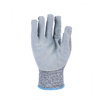 HPPE Cut Resistant Gloves Leather on Palm Thumb Crotch And Finger Tips