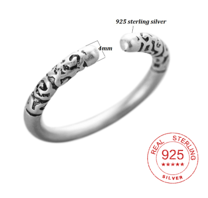 100% 925 Sterling Sliver Vintage Simple Circle Round Rings for Women Men Statement Ring Pattern Engraved Jewelry Gifts