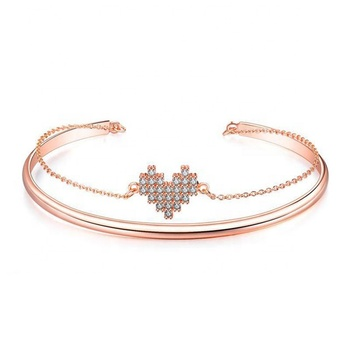 Fashion Jewelry Alloy Copper Jewellery CZ Stone Women Plated Rose Gold Hear Bangle