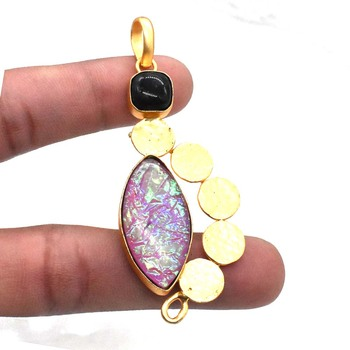 pink fire opal black onyx gemstone gold plated jewellery handmade pendant