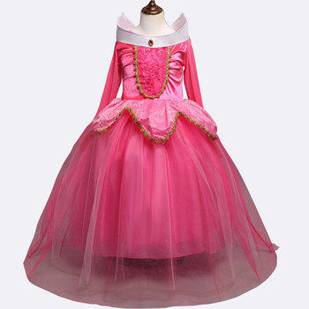 Factory price pink and blue color aurora costume girls tutu dress sleeping beauty dress cosplay princess dress