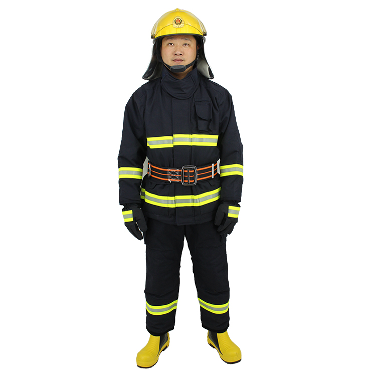 Flame Resistant Emergency Rescue Nomex Protective Fireman Firefighter Uniform including Helmet Belt Boots Gloves