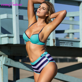 Online dropship neon blue sporty sexy high waist bikini swimwear