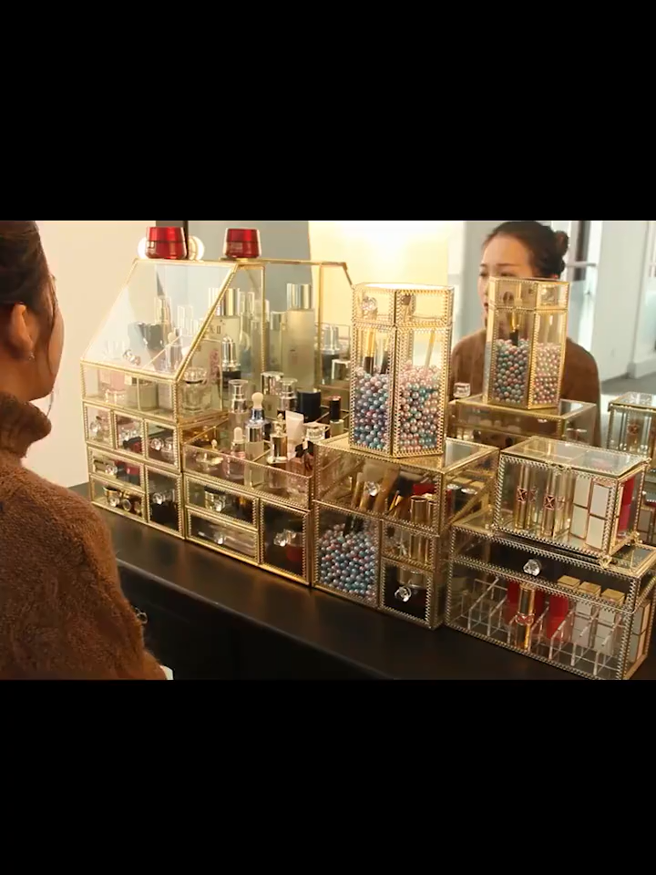 Organisateur de maquillage En Métal Doré de Luxe Brosse En Verre Acrylique Bureau Parfum Vanité Titulaire Boîte De Rangement Maquillage Cosmétique Organisateur De Maquillage
