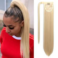 Vigorous Wrap Around Straight Hair Ponytail Straight Hair Extension Clip in 22 Inch Synthetic Hair Ponytails Blonde Color