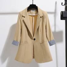 Осень-лето 2020, корейский Тонкий хлопковый льняной блейзер для женщин, тонкий лоскутный полосатый Блейзер размера плюс, рабочая одежда, паль...(Китай)
