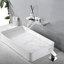 Смеситель водопад, матовый черный, настенный, для ванной комнаты, кран с большой полкой, платформа, смеситель для воды, качественный кран(Китай)