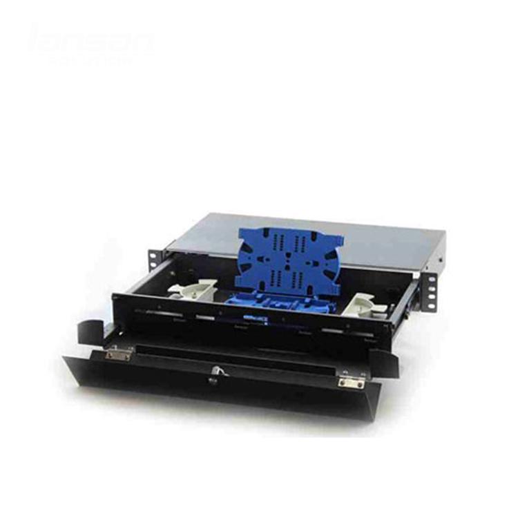 Lansan Fiber Termination Box 24 Port 48 Port 19'' 1.5U Drawer Type sliding Termination Box Fiber Optic Patch Panel