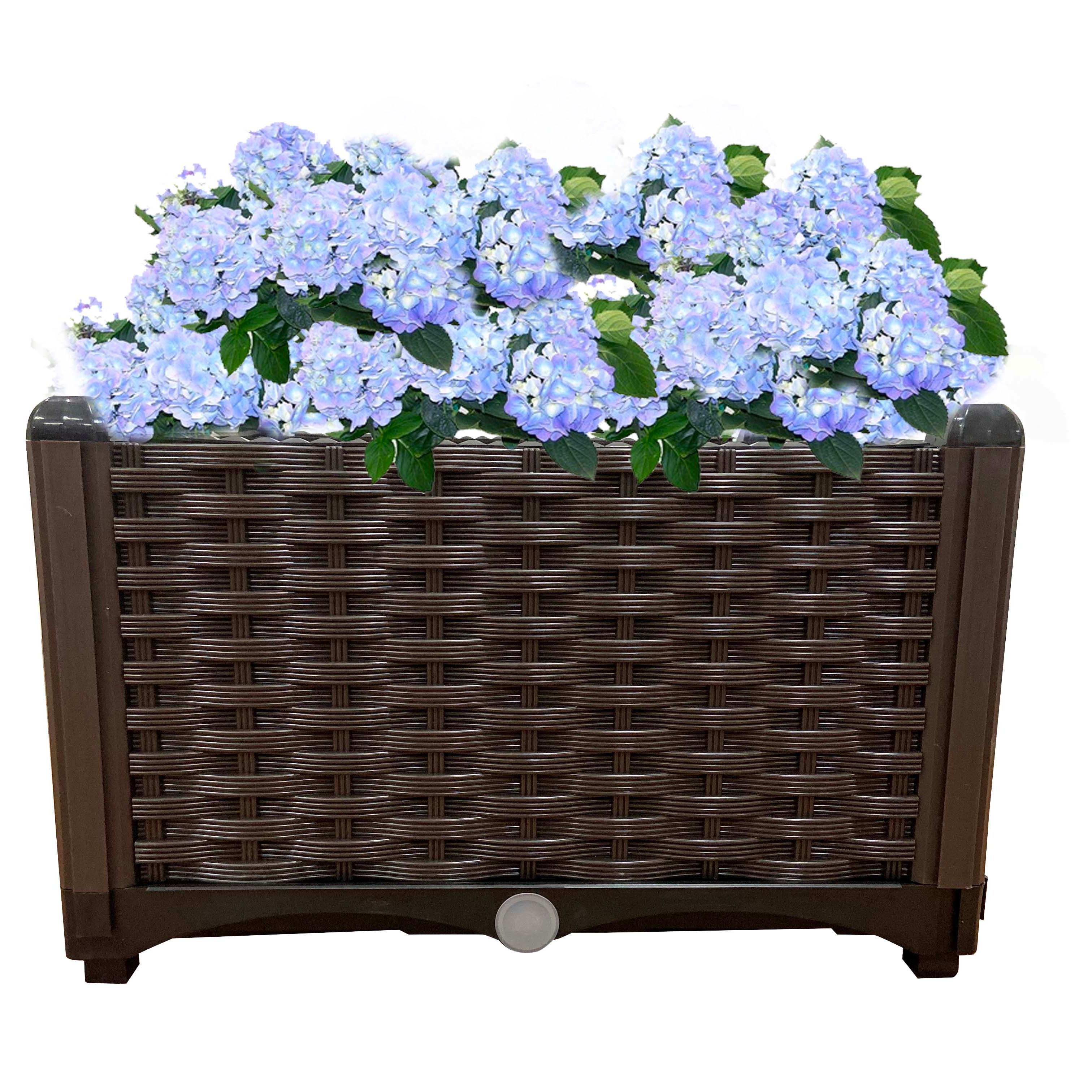 สีน้ำตาลรูปสี่เหลี่ยมผืนผ้ายกเตียงสวนชุดในร่มกลางแจ้งพลาสติกPlanter Growกล่อง
