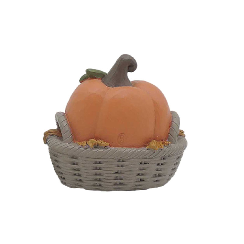 Pumpkin Kid In A Rattan Basket Resin Pumpkin Decoration For Home Decorations