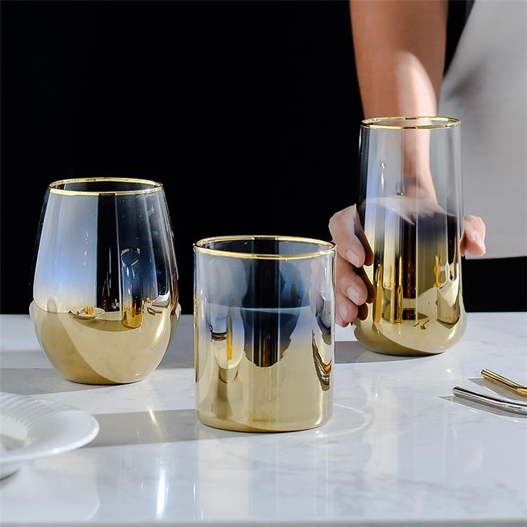 فاخر درينكوير عالية الجودة الذهب حافة القهوة الدب الحليب كوب عصير زجاجي للمنزل