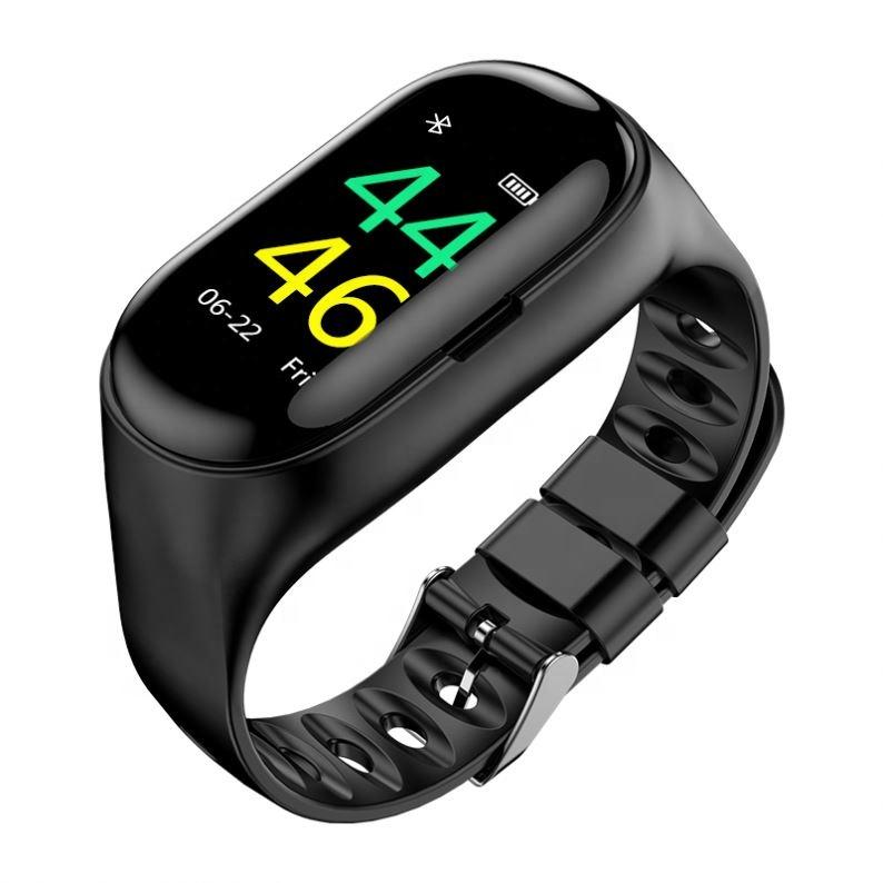 Hot Sale 2 in 1 Sport Handsfree Bluetooth Earphone Wristband M1 AI Heart Rate Blood Pressure Smart Watch