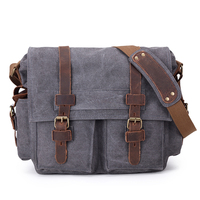 Casual custom vintage waterproof leather canvas dslr digital camera shoulder bag