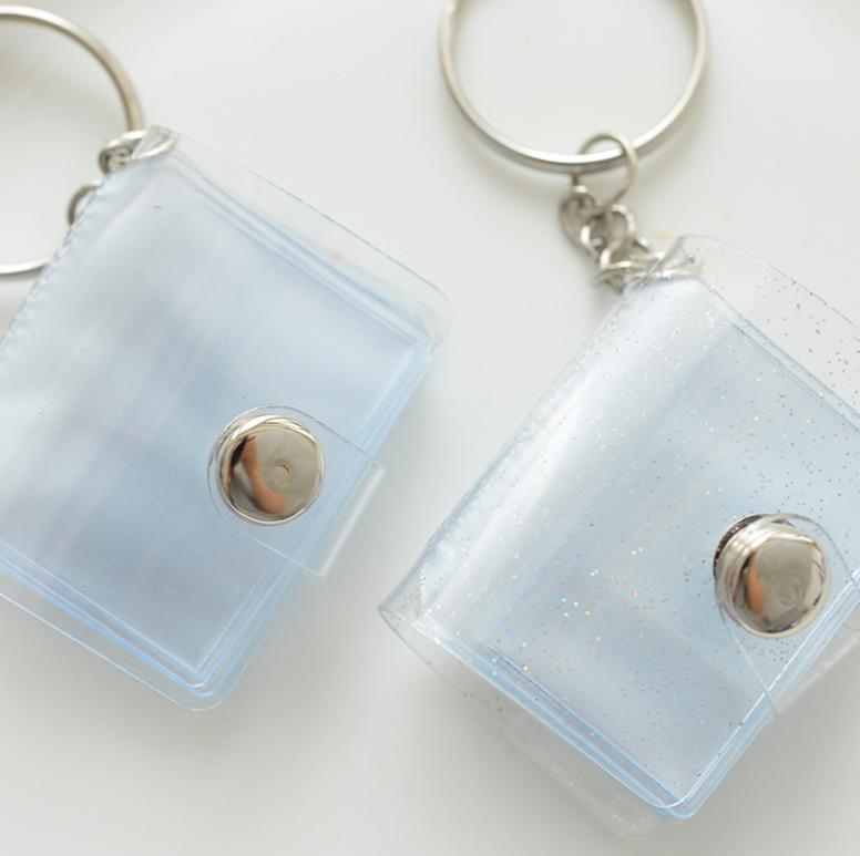 カスタムギフトホログラムクリアグリッター pvc カードホルダー、レーザー透明カードケース、子供クロスボディポーチコイン財布バッグ財布