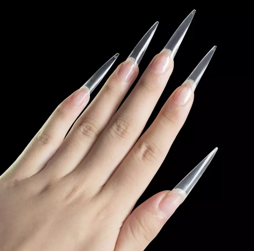 500pcs per bag <strong>acrylic</strong> <strong>nail</strong> <strong>tips</strong> false C curve stiletto long clear