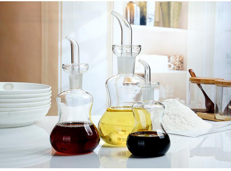 125ml 250ml 500ml Handmade Borosilicate Glass Bottle For Soy Sauce Vinegar Oil