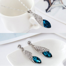 2019 Yiwu Hot sale Fashion jewelry conch shape Crystal pendant necklace earring jewelry set