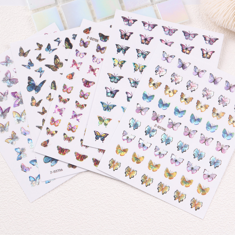 TSZS 2020 popular wholesale 3D laser butterflies adhesive butterfly <strong>nail</strong> art decoration <strong>nail</strong> decals <strong>nail</strong> <strong>sticker</strong>