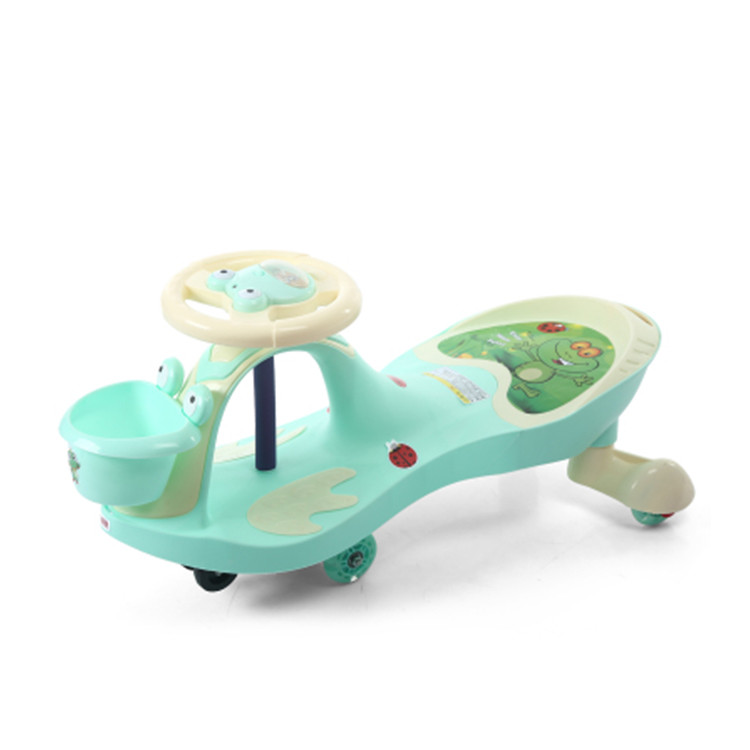 best quality PU wheel mute baby swing car / original PP kids twist car / rolling swing car with music and light for children