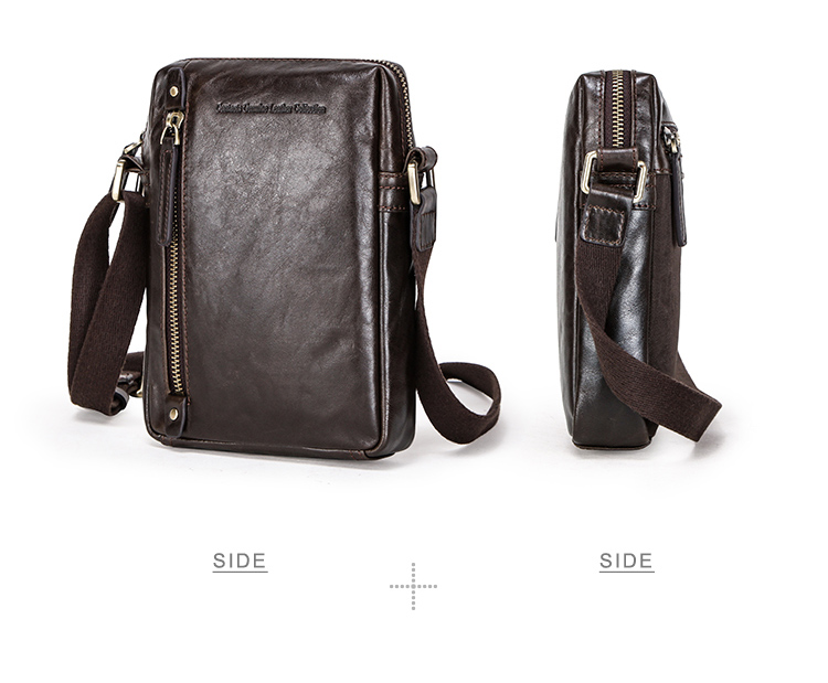 drop ship contact's fashion genuine leather adjustable webbing shoulder strap custom small messenger sling bag for 7.9in Laptop